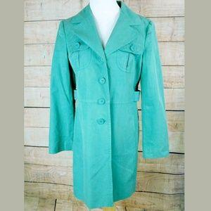 ANN TAYLOR LOFT Sz 8 Teal Womens Trench Rain Coat